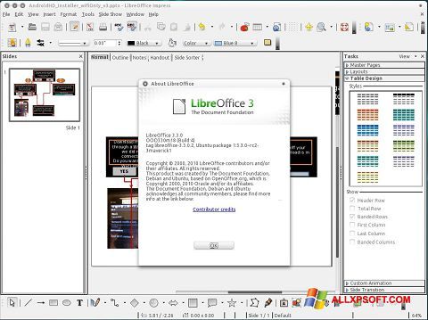 स्क्रीनशॉट LibreOffice Windows XP