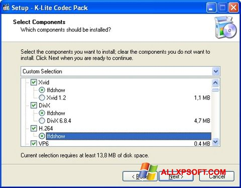 स्क्रीनशॉट K-Lite Codec Pack Windows XP