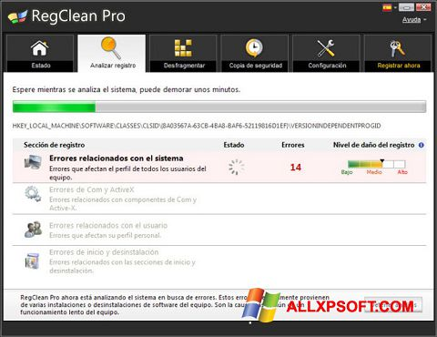 स्क्रीनशॉट RegClean Pro Windows XP
