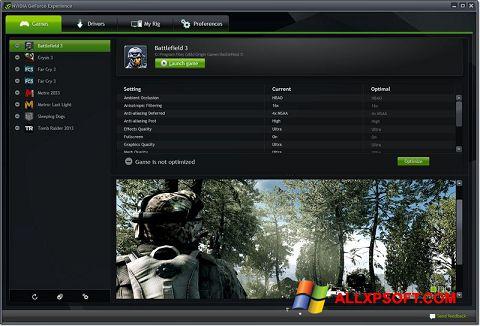 स्क्रीनशॉट NVIDIA GeForce Experience Windows XP