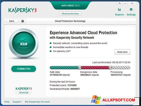 स्क्रीनशॉट Kaspersky Windows XP