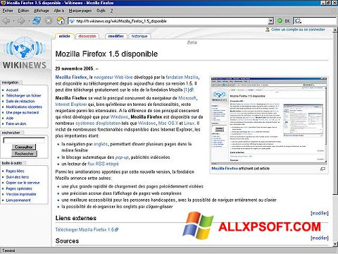 स्क्रीनशॉट Mozilla Firefox Windows XP
