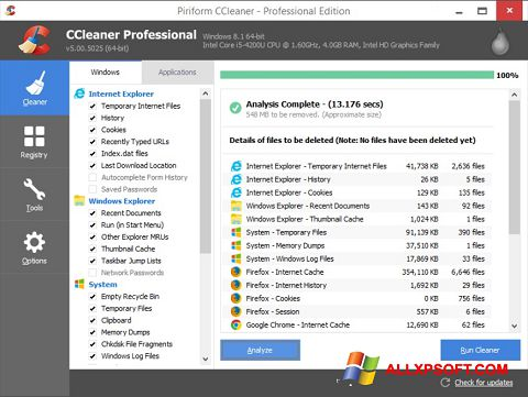 स्क्रीनशॉट CCleaner Windows XP