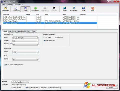 स्क्रीनशॉट XMedia Recode Windows XP