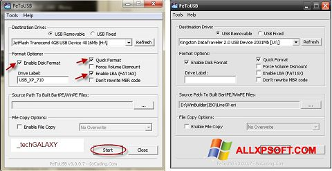 स्क्रीनशॉट PeToUSB Windows XP