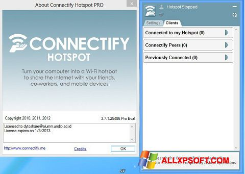 स्क्रीनशॉट Connectify Pro Windows XP