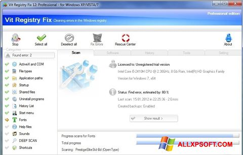स्क्रीनशॉट Vit Registry Fix Windows XP