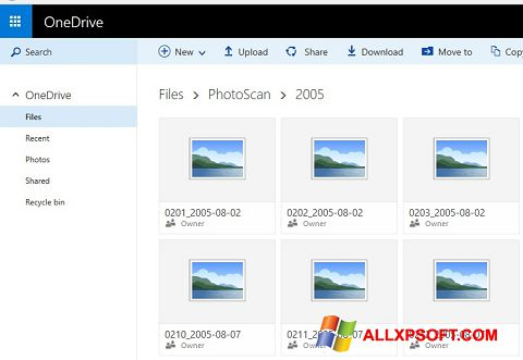 स्क्रीनशॉट OneDrive Windows XP